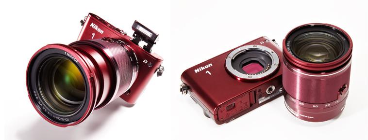 小型化に大きく貢献する Nikon 1専用開発のマウ ントに、ボディカラー、キャ ップまで同色というこだわ りの仕様。「レンズを交換 する」という1ランク上のアクションが、被写体へ臨む 動機(モチベーション)を、 さらにアゲてくれるのだ。