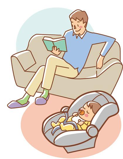 ①バウンサーとして 室内ではバウンサー代わりとして使用できる。赤ちゃんからしてみれば「いつも快適な移動式ベッド」なのだ。