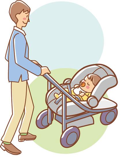 ②ベビーカーとして 赤ちゃんを乗せたシートを取り付けて、対面式のベビーカーに。目的地到着後、すぐにお散歩をスタート!