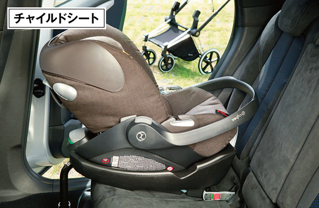 本体をシートベルトで固定することもできるほか、より高い安全性を得られる国際標準規格 「ISOFIX」対応の専用ベースを使えば、座席への取りつけもワンタッチで行なえる。